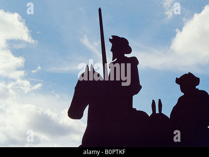 Don Quixote and Sancho Panza. Villarta de San Juan. Ciudad Real province. Castile La Mancha. Spain. - Stock Photo