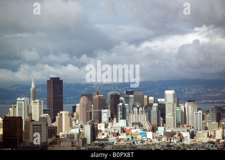 aerial above San Francisco skyline after a storm - Stock Photo