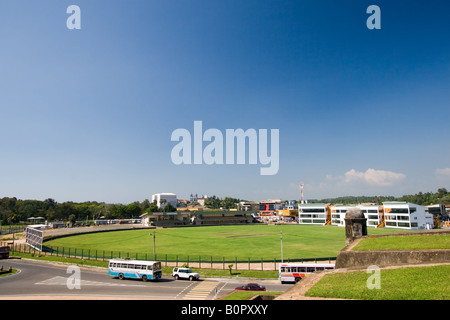 A beautiful view of the rebuilt Galle Cricket Ground from the ramparts of the historic Galle Fort, Sri Lanka. - Stock Photo