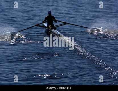 Rowing Competition at Strathclyde Park National Rowing Centre Scotland - Stock Photo