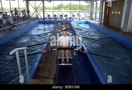 Rowing Machine at Strathclyde Park National Rowing Centre Scotland - Stock Photo