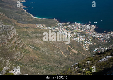 View from Table Mountain onto Camps Bay - Stock Photo