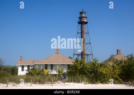 Sanibel Island Light is the first lighthouse on the Gulf Coast of Florida - Stock Photo