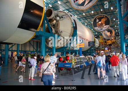 Saturn V Moon Rocket used by Nasa s Apollo and Skylab programs located at John F Kennedy Space Center in Cape Canaveral - Stock Photo