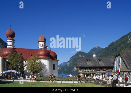 St.Bartholomae Monastery, Lake Koenigssee, Berchtesgadener Land, Bavaria, Germany - Stock Photo