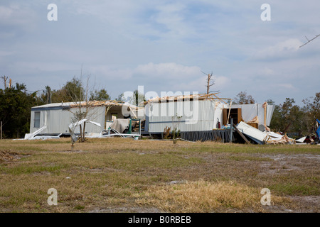 Modular home torn apart by a deadly tornado in Lake Mack Florida - Stock Photo