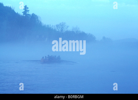 Sculling on the Connecticut River at Dartmouth College, Hanover NH. - Stock Photo
