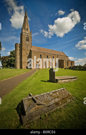 All Saint's, Brixworth, Northamptonshire, a Saxon church built in the 7th Century - Stock Photo