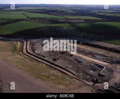Aerial view of landfill site near Haverfordwest Thousands of seagulls circling over site Pembrokeshire West Wales - Stock Photo