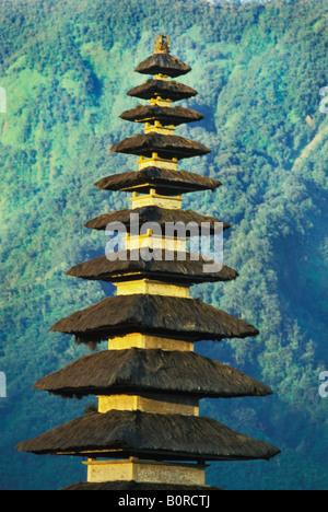Ulu Danu Temple on Lake Bratan in Bali Indonesia - Stock Photo