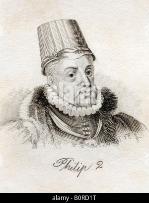 Philip II 1527 1598 King of Spain 1556 1598 Felipe II de Espana From the book Crabbs Historical Dictionary published - Stock Photo
