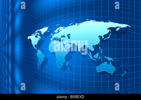 Illuminated blue world map against blue background with grid structure. - Stock Photo
