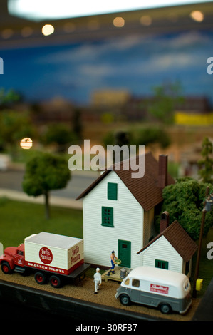A small town that is part of an electric train set - Stock Photo