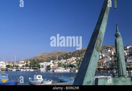 Pythagoras memorial in Pythagorion, Samos Island, Greece - Stock Photo