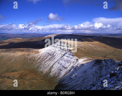 Cribyn in snow from summit of Pen y Fan Brecon Beacons National Park Powys South Wales UK - Stock Photo