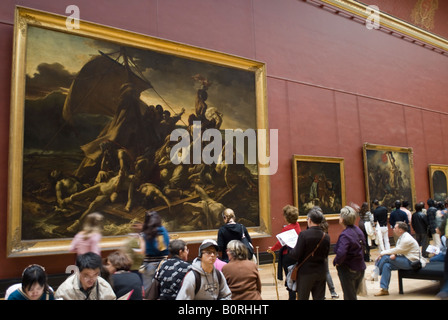 The Raft of the Medusa 1819 by Theodore Gericault in the Louvre Museum in Paris France - Stock Photo