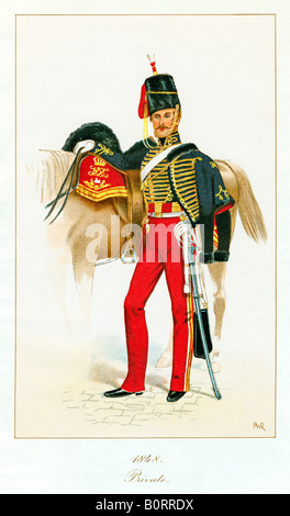 Private 11th Hussars 1848 print of Prince Alberts Own who rode in the Charge of the Light Brigade - Stock Photo