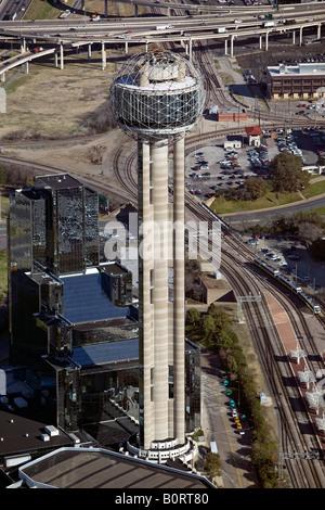 aerial above Reunion Tower Welton Becket architect 300 Reunion Blvd Dallas Texas - Stock Photo