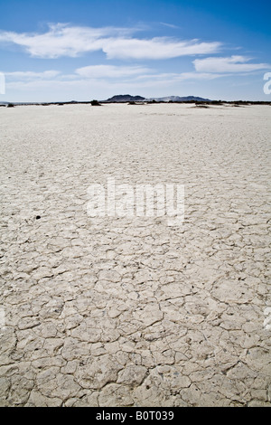 El Mirage Dry Lake bed, Desert with mountains in the distance and a clear blue sky. - Stock Photo
