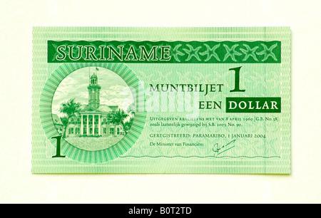 Suriname 1 Dollar bank note - Stock Photo