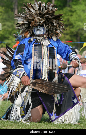 Eagle Tail, a Native American from the Micmac Indian Tribe of Canada, dances at the Healing Horse Spirit PowWow - Stock Photo
