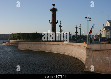 Spit of the Vasilievsky island, Saint Petersburg, Russia - Stock Photo