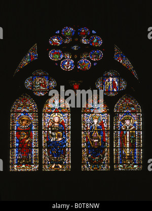 Stained Glass window in St Etienne Cathedral in Cahors Lot France - Stock Photo