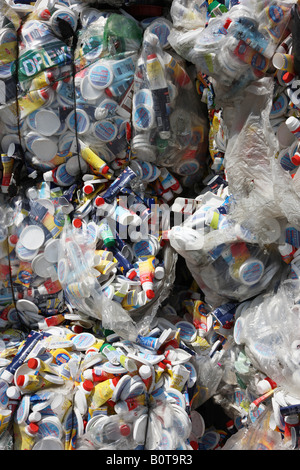DEU Germany Essen Recycling of plastics of any kind Pressing of plastic products like PET Bottles - Stock Photo