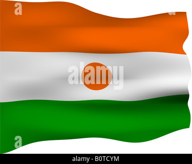 3d flag of Niger - Stock Photo