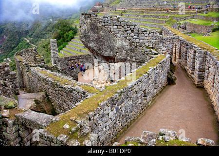 Machu Picchu Temple of the Condor Stone Prison Group Urubamba Valley Peru South America - Stock Photo