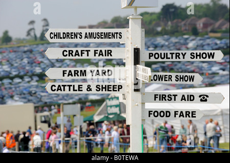 Heathfield & District Agricultural Show. Crowds flock to the county show held in May. A showground sign to help - Stock Photo
