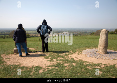 tourists stand near the lia fail stone of destiny on the forradh royal seat area of the hill of tara teamhair na - Stock Photo