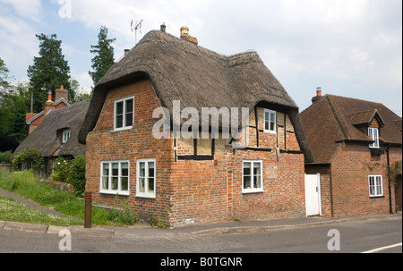Old Thatch Roof Cottage West Meon Hampshire UK - Stock Photo