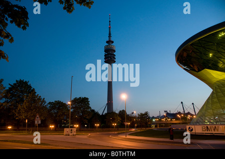 Olympic tower built for the 1972 Summer Olympics in the city of Munich capital of Bavaria Germany - Stock Photo