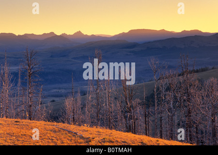 Sunrise over the Lamar Valley area from Mount Washburn Yellowstone National Park Wyoming - Stock Photo