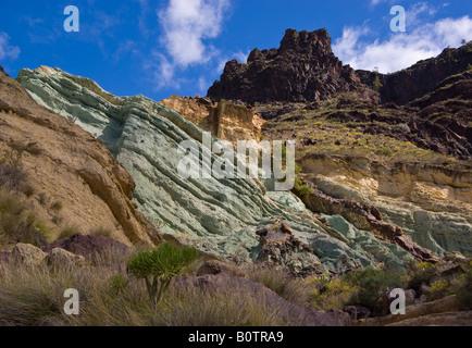 Los azulejos coloured volcanic rocks creek waterfall - Los azulejos gran canaria ...