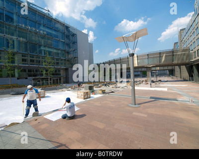Construction work in the EU quarter of Brussels Belgium - Stock Photo