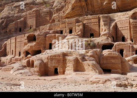 Facade street Street of Facades Nabataean ancient town Petra Jordan Arabia - Stock Photo