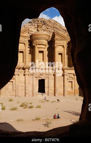 ornate carved rock tomb known as The Monastery El Deir Nabataean ancient town Petra Jordan Arabia - Stock Photo
