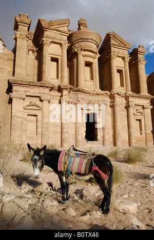 ornate carved rock tomb known as The Monastery El Deir Nabataean ancient town Petra Jordan Arabia, donkeys in front - Stock Photo