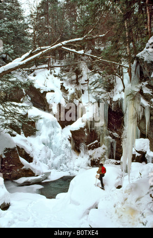 Snow Shoeing at Bigham Falls near Stowe VT - Stock Photo