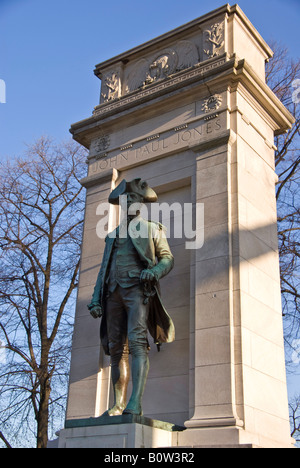 Statue to John Paul Jones father of the US Navy and privateer in the American war of independence - Stock Photo