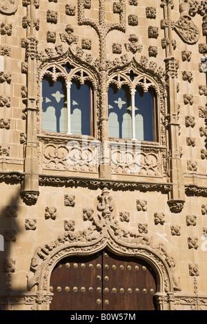 Baeza Jaen Province Spain Windows in facade of Universidad Internacional de Andalucia Antonio Machado Palacio de - Stock Photo