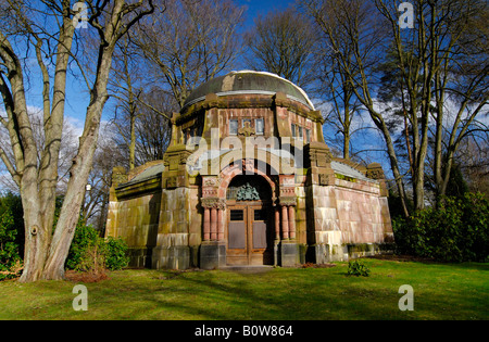 Historic mausoleum, Ohlsdorf Cemetery in Hamburg, Germany - Stock Photo