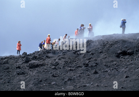 Mount Etna, guided tour in the lava fields created by the 1989 eruption, Sicily, Italy, Europe - Stock Photo