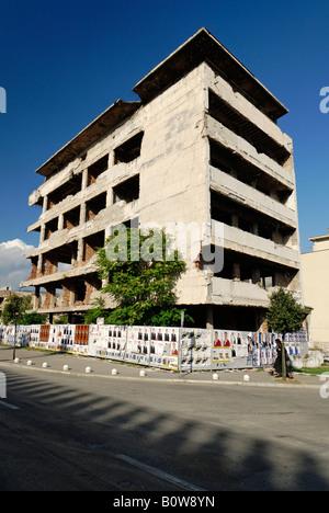 Building destroyed during the civil war, Mostar, Bosnia and Herzegovina, Balkans - Stock Photo