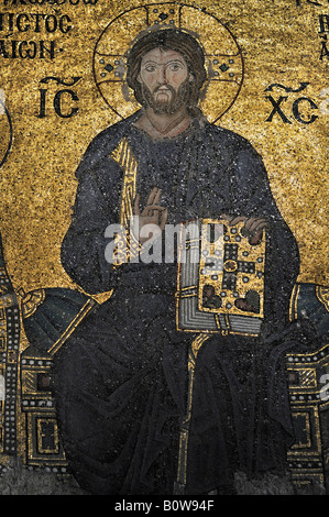 Byzantine mosaic of Jesus in the Hagia Sophia, Istanbul, Turkey - Stock Photo