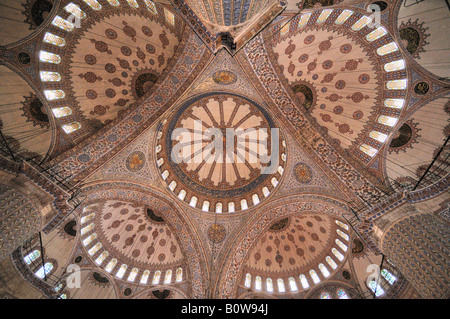 Domes, interior of the Sultan Ahmed Mosque aka Blue Mosque, Istanbul, Turkey - Stock Photo