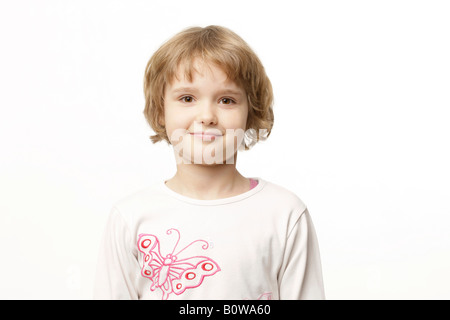 Portrait, 8-year-old girl - Stock Photo