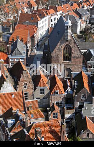 View from the Lange Jan, tower of the Nieuwe Kerk, New Church, Middelburg, Walcheren, Zeeland, Netherlands - Stock Photo